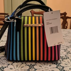 Betsey Johnson rainbow stripe crossbody. NWT.